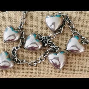 Vintage Silver Puffy Hearts Necklace